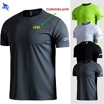 Customize LOGO Breathable Running Shirts Men Tops Tees Quick Dry Short Sleeve Gym Fitness T Shirt Reflective Strips Sportswear
