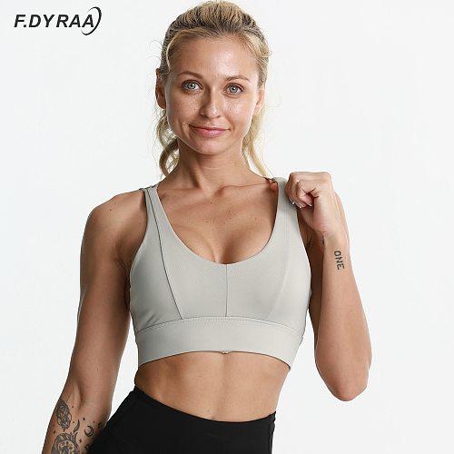 F.DYRAA Shockproof Cross Straps Bra Running Gym Sports Bra Top Women Widen Hem Push Up Workout Fitness Yoga Crop Tops Brassiere