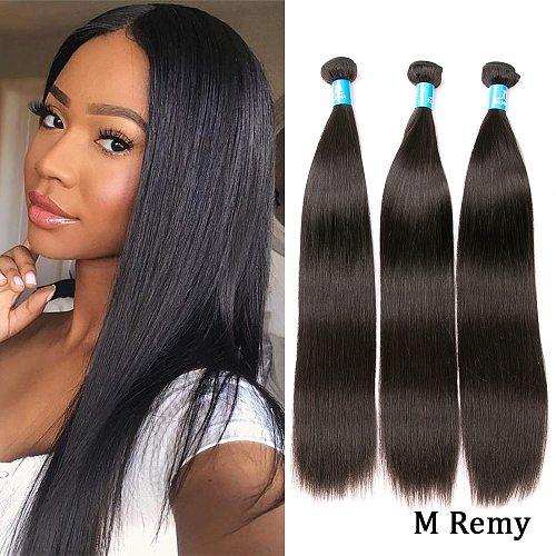 Amanda Hair Brazilian Hair Weave Bundles Straight 3/4 Bundles Deals Natural Color 100% Human Hair Extensions 8-28 Inch Remy Hair