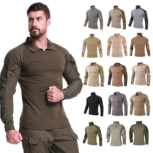 Men's Army Shirts Military Combat Workout Tactical Clothing Hunting Paintball Uniform Camouflage Airsoft Clothes Camping Shirts