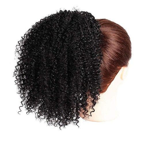 Afro Kinky Curly Ponytail Human Hair Maxine 4B 4C Kinky Curly Ponytail Extensions Clip in Drawstring Ponytail Bun HairPieces