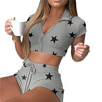 Sexy Knitted Two Piece Set Homewear Women Casual Short Sleeve Zip Star Crop Top+High Waist Skinny Shorts Sports Outfit Tracksuit