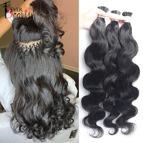 Body Wave Microlinks I Tip Hair Extensions Indian Natural Wavy Virgin Bulk Hair For Women 100% Human Hair For Salon Ever Beauty