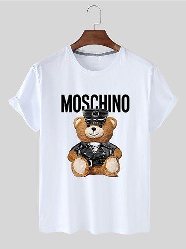 Summer Women's Blouse Personality White T-shirt Kawaii Cartoon Animal Bear Print Fresh Sport Short Sleeve T-shirt for Women