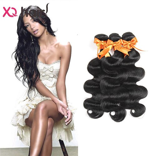 XQ Brazilian  Body Wave 3 Bundles 100 Human Hair Weave Natural Color Non Remy 8-26 Inch Human Hair Extensions
