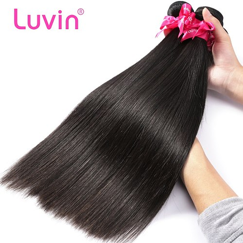 Luvin 28 30 32 34 40 Inch Straight Brazilian Hair Weave 3 4 Bundles With 13x4 Lace Frontal and Closure Remy 100% Human Hair