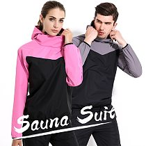Sauna Suit Mens Womens Windproof Gym Clothing Set Hoodies Pullover Sportswear Running Fitness Weight Loss Sweating Sports Suit