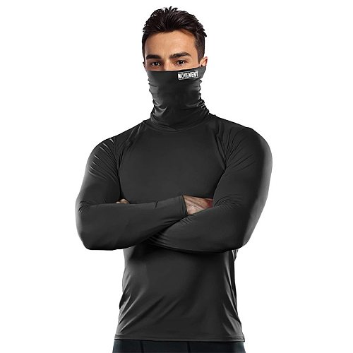 Mask Men's T-shirt Compression Shirt Running Fitness High Neck t-shirts Gym Top Thermal Underwear Sports Baselayer Winter