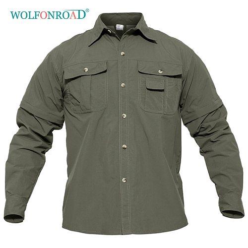 WOLFONROAD Men's Shirt Military Quick Dry Shirt Men Tactical Clothing Outdoor Camping Hiking Shirts Long Sleeve Removable Shirts