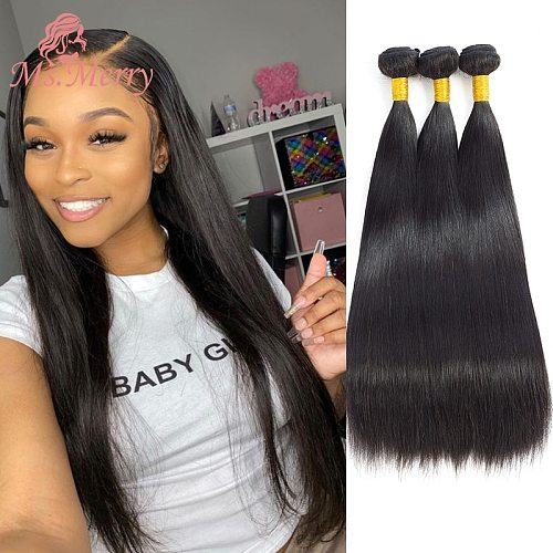 Hair Bundles Straight/Body Wave Bundles 30 inches Brazilian Hair Weave Bundles Remy Human Hair for Black Women Double Weft Weave