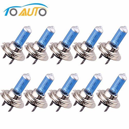 10pcs 24V H7 100W Halogen Bulb Super Bright Fog Lights High Power Car Headlight Lamps for Car Light Source parking White 5500K