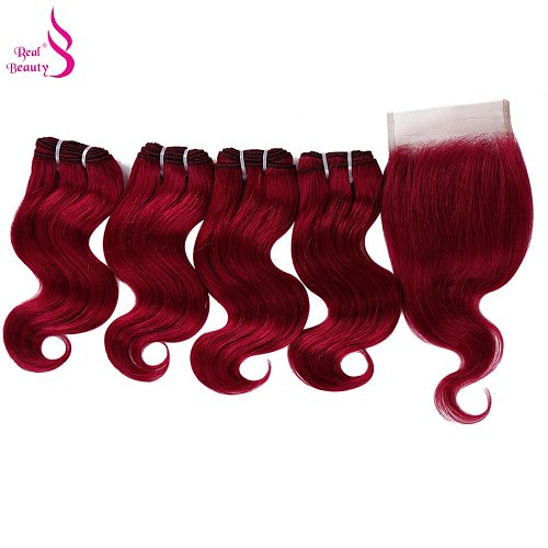 Real Beauty 4 Bundles With Closure 50g/pc Peruvian Body Wave Human Hair With Lace Closure Honey Blond 99j Remy  Wavy Hair