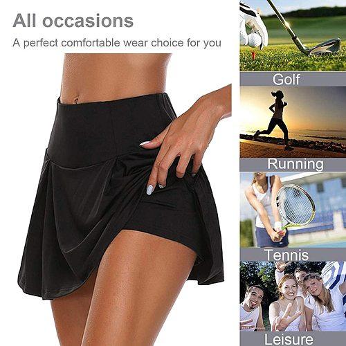 Women Sports Shorts Tennis Skirt Girls Female Gym Short Dance skirt Running Fitness Yoga Shorts Pantskirt Anti-emptied 2 in 1