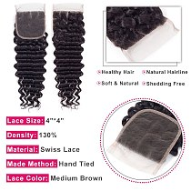 Bling Hair Peruvian Deep Wave Lace Closure With Baby Hair 4x4 Free/middle/three Part Remy Human Hair Natural Color Free Shipping