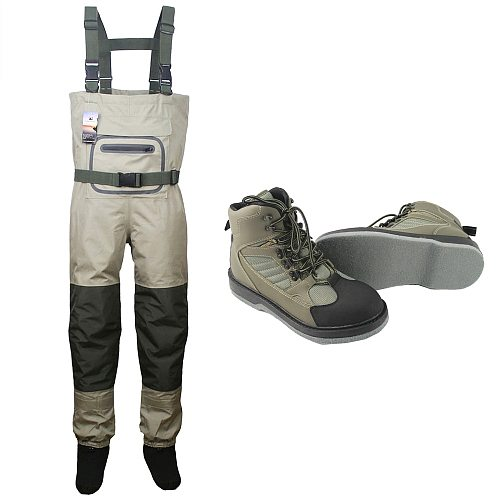 Breathable stocking foot Chest Waders Hunting Wading Pants and Fly Fishing Wading Shoes Felt Sole Fishing Boots