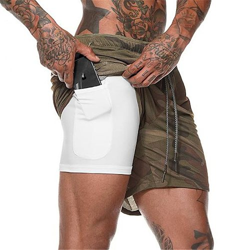 Joggers Shorts Men 2 in 1 sport shorts Gyms Fitness Bodybuilding Workout Quick Dry Beach Shorts Male Summer Running shorts men
