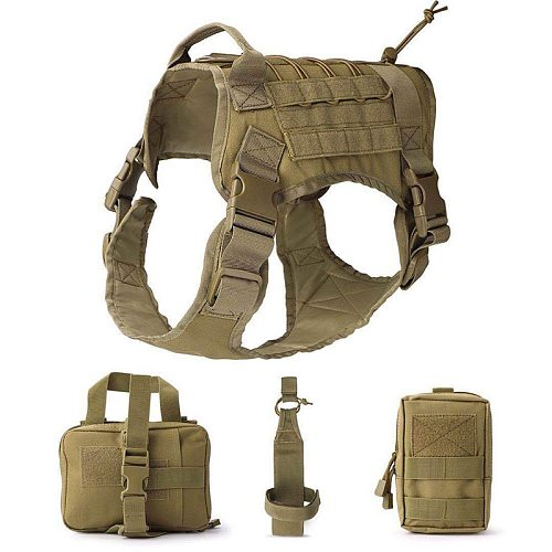 Tactical Service Dog Harness Clothes Suit Vest Army Military with Accessory Kit Police Dogs Pet Clothes Water Bottle Carrier Bag