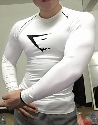 Men's Running Slim-Fit Long-Sleeved T-shirt Muscle Compression Gym Fitness  Slim-Fit Quick Drying Clothes Workout T-shirt Tops