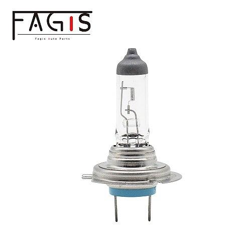 Fagis 2 Pcs US Brand H7 12V 55W White Car Headlight Auto Halogen Bulbs UV Quartz Glass Head Lamps Low/High Beam Lights