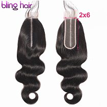 Bling Hair 2*6 Brazilian Body Wave Closure With Baby Hair Middle Part 100% Remy Human Hair Closure Swiss Lace Natural Color