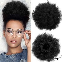 Afro Kinky Curly Ponytail For Women Natural Black Remy Hair 1 Piece Clip In Ponytails Puff Drawstring 100% Human Hair Extension