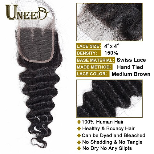 Ueed Hair Peruvian Loose Deep Wave Closure Free/Middle Part Human Hair Lace Closure 10 -20  Remy Hair 120% Density Swiss Lace