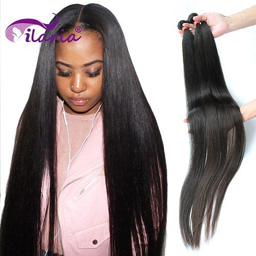 ILARIA 28 30 32 40 inch Brazilian Straight Hair Weave Bundles Natural Remy Hair Extensions 3 4 Bundles Raw Human Hair Bundles