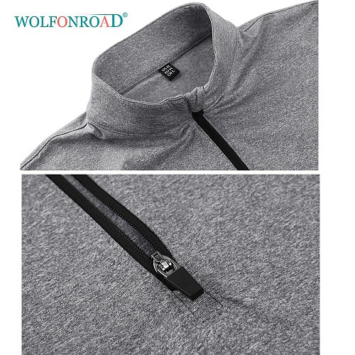 WOLFONROAD Quick Dry Sportswear Tops Mens Long Sleeve 1/4 Zipper Sweater Running Shirts Jogger Gym Home Workout Training T Shirt