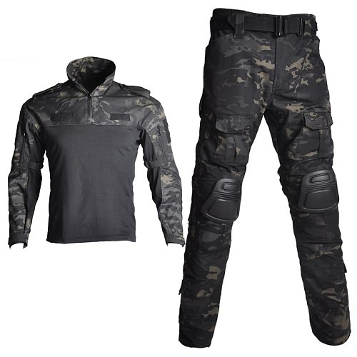 Outdoor Airsoft Military Shirt Uniform Army Tactical Suits Camo Hunting Clothes Paintball Sniper Combat Shirt Pants Knee Pads