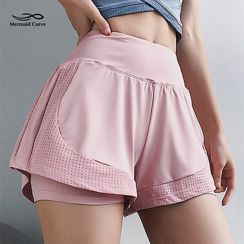 Mermaid Curve Summer New Mesh Breathable Sports Shorts Women's 2 in 1 Loose Quick-Drying Gym Running Yoga Shorts Riding Shorts