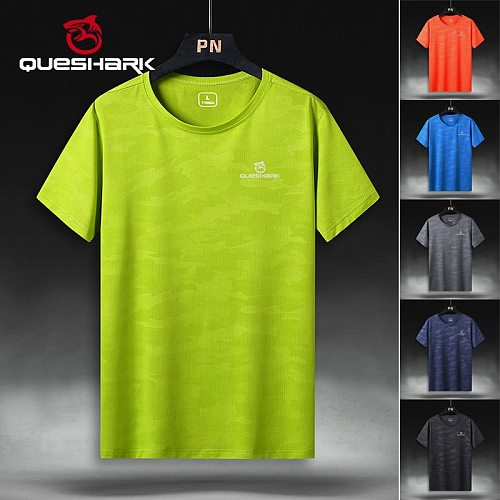 QUESHARK Professional Men Quick Dry Running T Shirt Loose Tops Breathable Camping Hiking Cycling T-shirts Tees L-9XL Asian Size