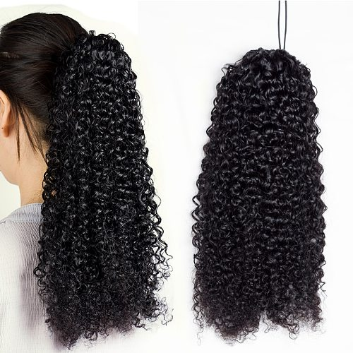 Aliballad Kinky Curly Drawstring Ponytail Human Hair Brazilian Afro Clip In Extensions For Black Women Remy 150g 4 Combs
