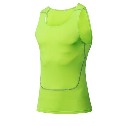 Summer Tank Tops Quick Dry Fitness Athletic Running Men's Vest Gym Fitness slim fit compression sports White Running vests