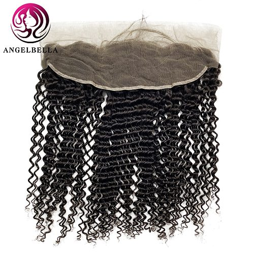 Angelbella Brazilian Kinky Curly 13x4 Lace Frontal Closure 16 Inch Human Hair Closure Frontal Ear to Ear Lace Frontal