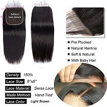 18 20 Inch 6x6 5x5 4x4 Lace Closure Only Remy 100% Human Hair 2x6 Peruvian Straight 613 Closure Pre Plucked