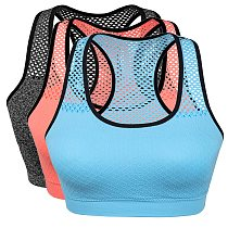 Quick Dry Mesh Sports Bras for Women Wireless Push Up Sports Bra Top Shockproof Fitness Gym Bra Removable Padded Yoga Bra