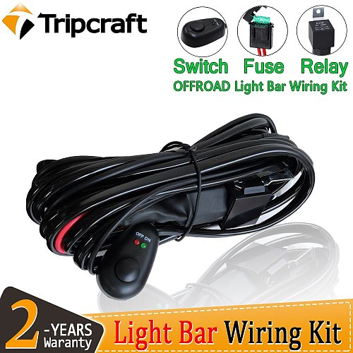 Tripcraft 12V 40A LED Work Light Bar Wiring with remote Harness Relay Kit For Auto Offroad 4x4 Driving Light Wire Fuse Switch