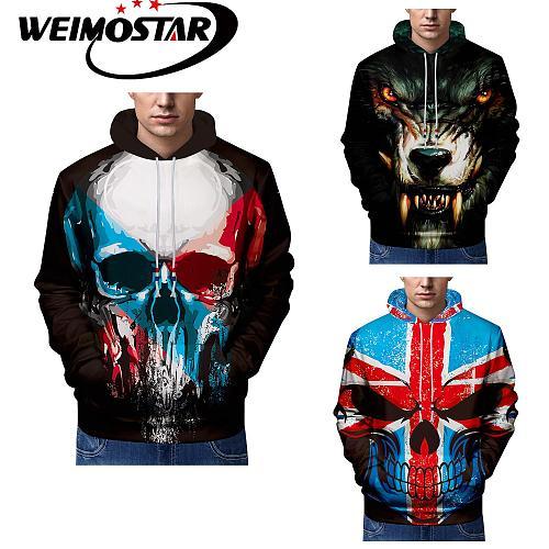 Weimostar Winter Hip Hop Street Wear Sweatshirts Men Skull Wolf Skateboard Hoodies Autumn Cool Hooded Pullover Clothing Leisure