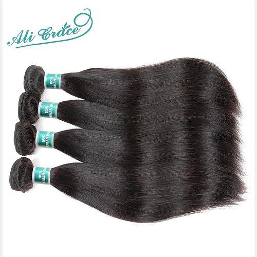 ALI GRACE Hair Brazilian Straight Human Hair 4 Bundles 100% Remy Human Hair Weaves Natural Color 10-28 inch Free Shipping