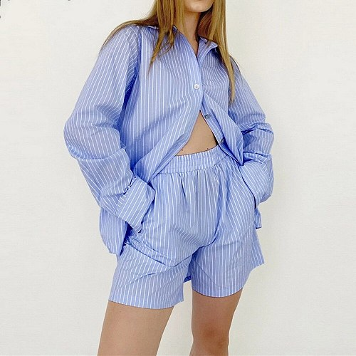 Loung Wear Tracksuit Women Shorts Set Stripe Long Sleeve Shirt Tops And Loose High Waisted Mini Shorts Two Piece Set 2021