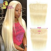 Facebeauty 13x4 Ear To Ear Lace Frontal Closure Ombre 1B/613 Blonde Remy Peruvian Straight Pre Plucked Frontal with Baby Hair