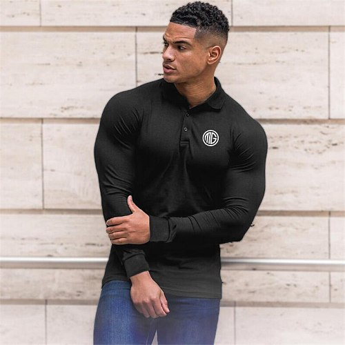 Running Shirt Sports Compression T Shirt Men Gym Long Sleeve Slim Fit T-Shirt Polo Top Male Workout Fitness Training Clothing