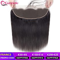 Gabrielle Transparent Lace Frontal Brazilian Straight 13x4 Lace Frontal Closure Human Hair Medium Brown Swiss Lace Remy Hair