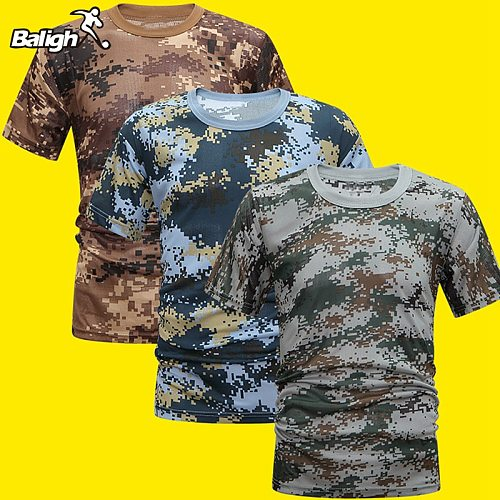 Balight Men Compression Comfortable Cool Shirt Fitness Camouflage Summer Quick Dry Breathable T-Shirt Tight Army Tactical Shirt