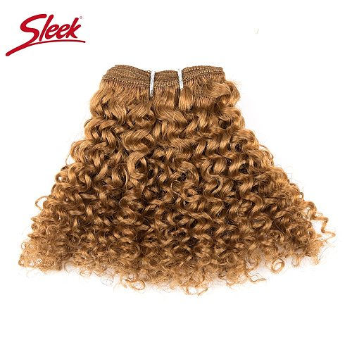 Sleek Double Drawn Blonde Color #27 30# Red 99J Color Short Indian Kinky Curly Bundles With Clocure Cheap 5 Bundles Hair Weave