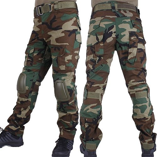 Woodland Camouflage Combat Pants Hunting Trousers Men Cargo BDU Pants Military Army Camo Airsoft Tactical Pants With Knee Pads