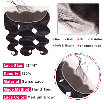 Bling Hair Body Wave 13x4 Lace Frontal Closure Transparent Lace Free Middle Part Brazilian Remy Human Hair Ear to Ear Closure