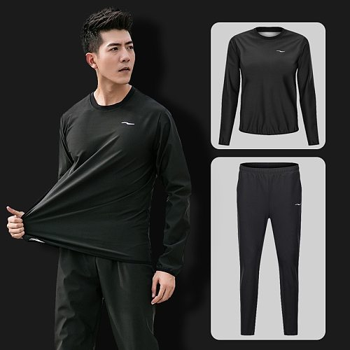 2Pcs Sauna Suit Slimming Men Pullover Sportswear for Sweating Weight Loss Running Fitness Gym Clothing Set Workout Tracksuit