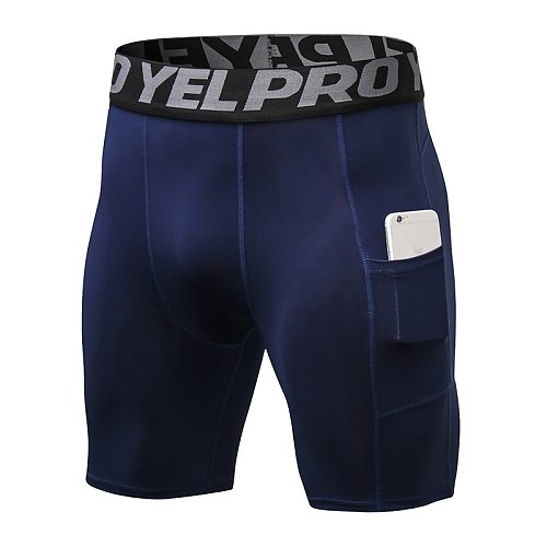 Hot Men High Elastic Compression Pocket Running Leggings Slim Sport Tights Men's Gym Fitness Training Leggings Male Underwear