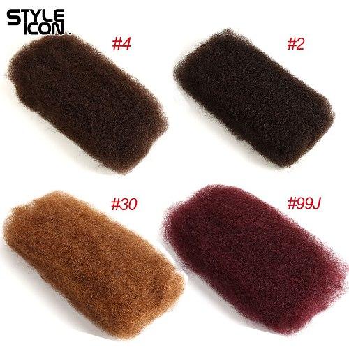 Styleicon Human Braiding Hair Bulk 1 3 4 Bundles Remy Peruvian Afro Kinky Bulk 50 Gram/PCS  #2#4#27#30#99J Crochet For Braiding